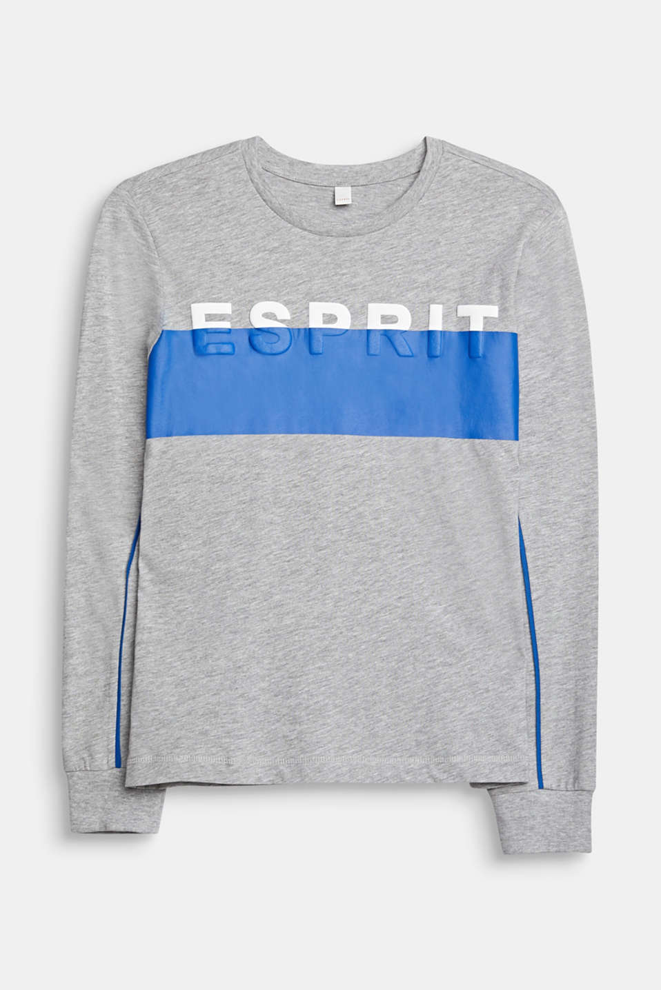 Long sleeve top with a 3D logo print, LCMID HEATHER GR, detail image number 0