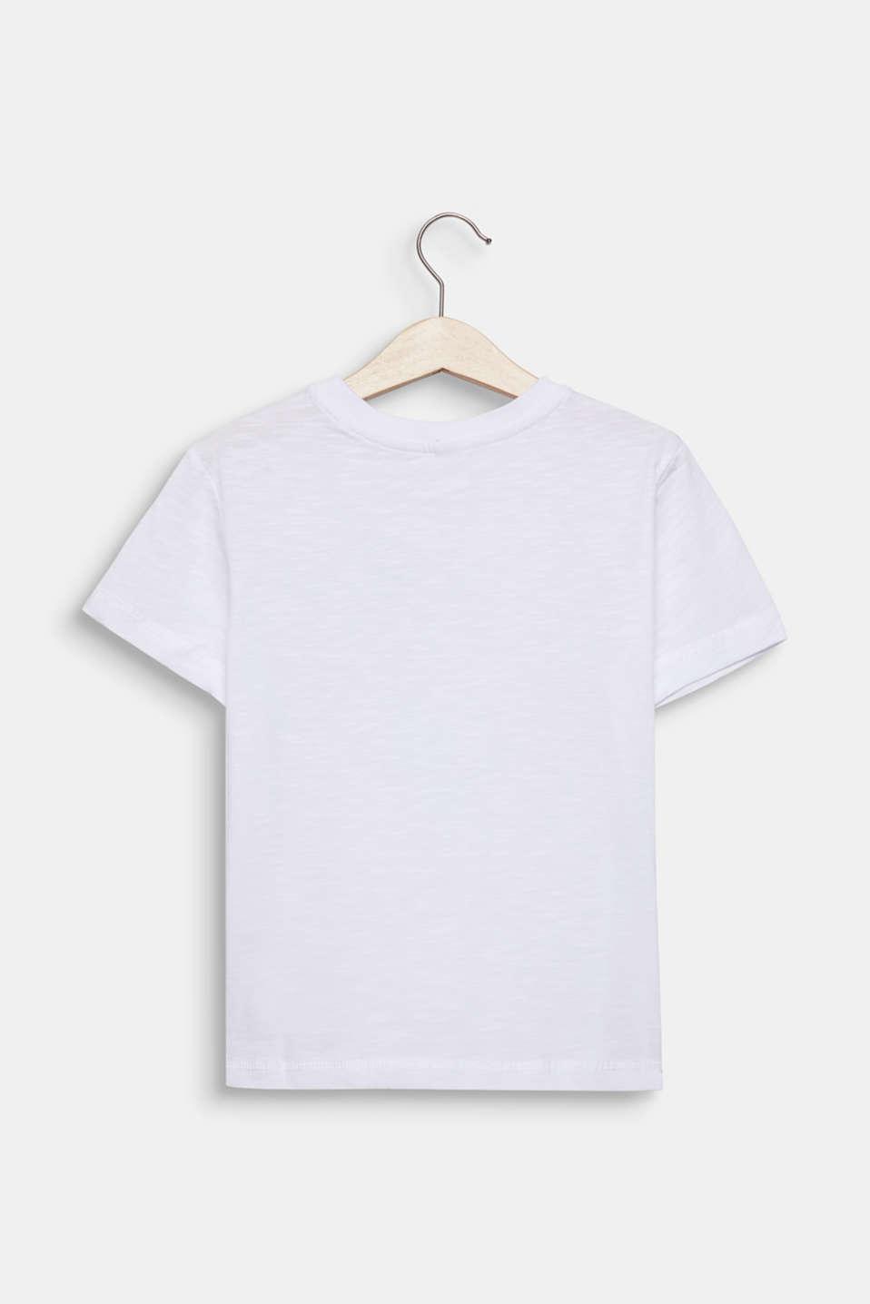 Slub T-shirt with print, 100% cotton, WHITE, detail image number 1