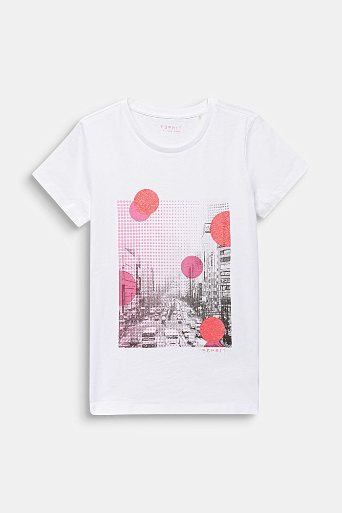T-shirt with a glittering photo print, WHITE, detail image number 0