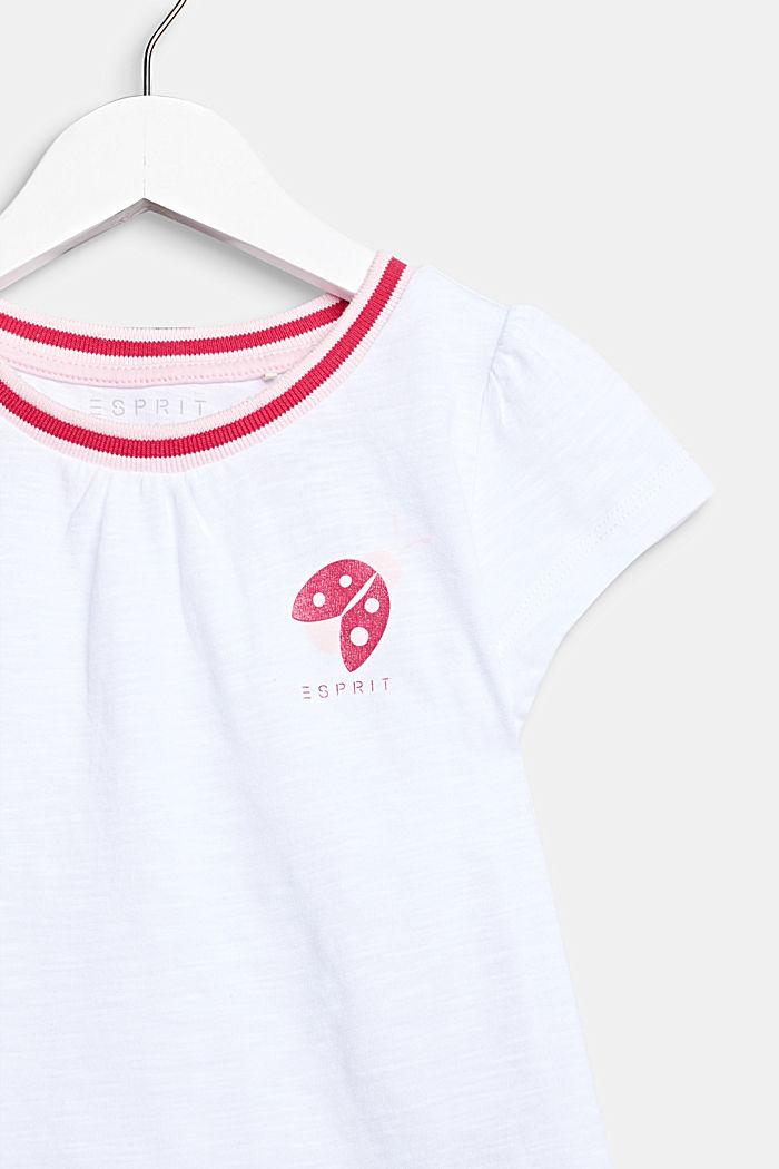 T-shirt met glitterprint, 100% katoen, WHITE, detail image number 2