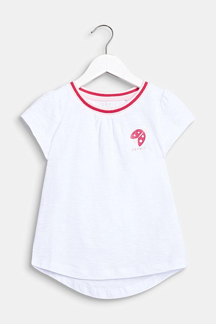 T-shirt met glitterprint, 100% katoen, WHITE, detail image number 0