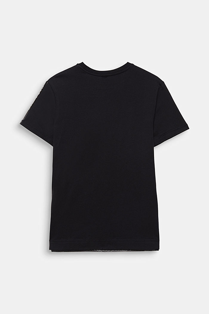 Cotton top with mesh layering, BLACK, detail image number 1
