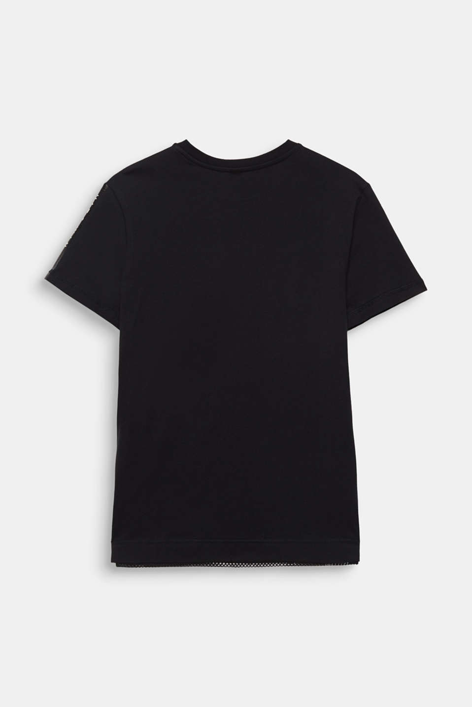 Cotton top with mesh layering, LCBLACK, detail image number 1
