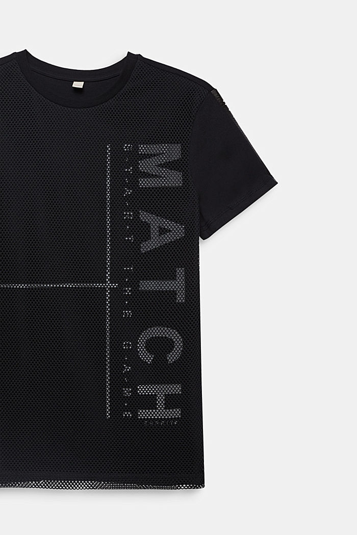 Cotton top with mesh layering, BLACK, detail image number 2