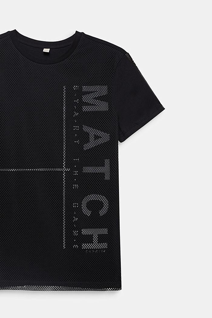 T-shirt i bomull med meshlager, BLACK, detail image number 2
