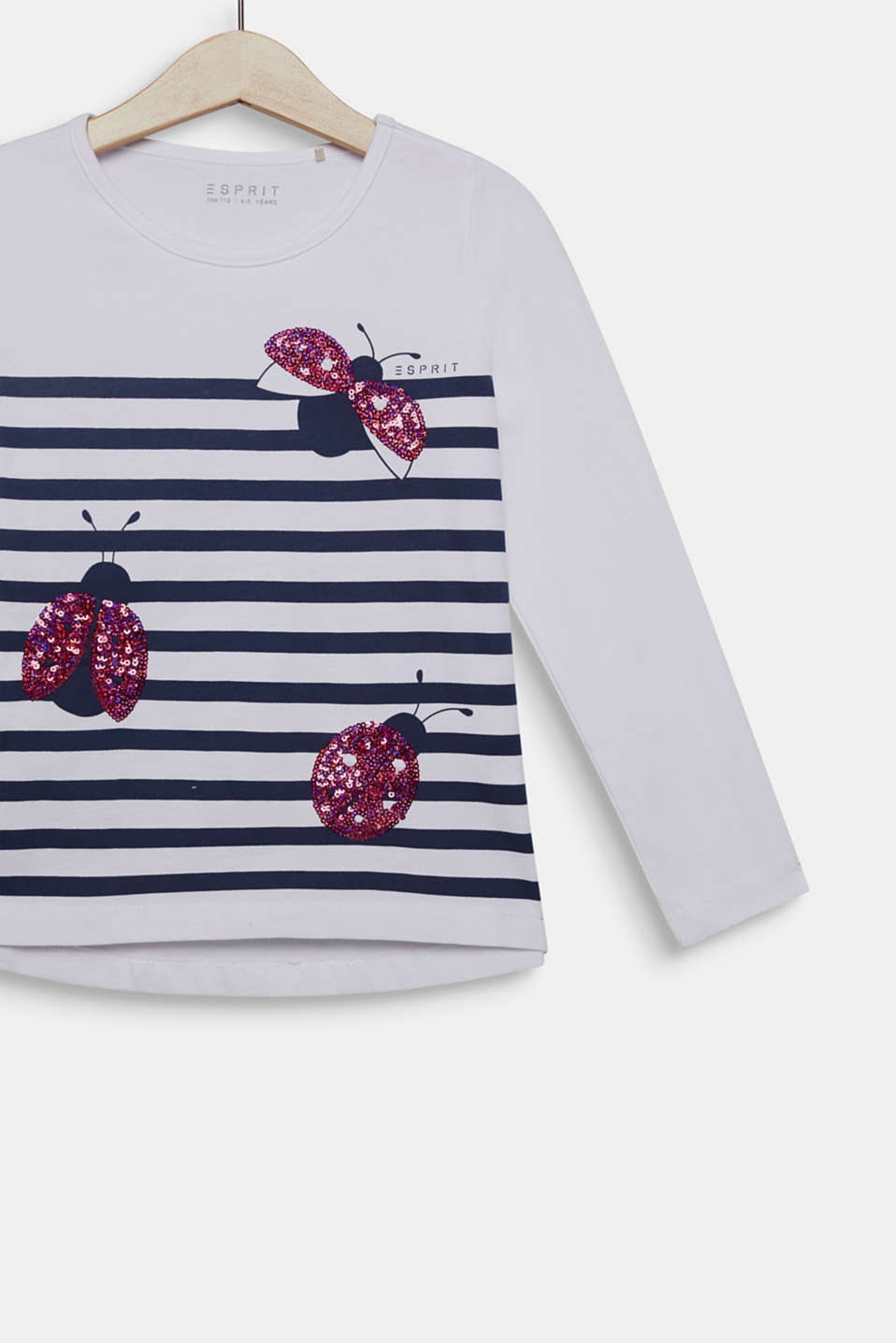 Long sleeve top with sequin ladybird, 100% cotton, WHITE, detail image number 2