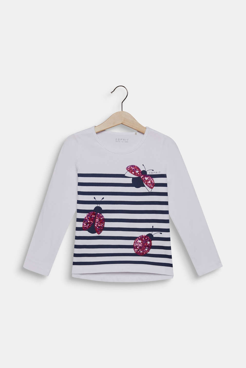 Long sleeve top with sequin ladybird, 100% cotton, WHITE, detail image number 0