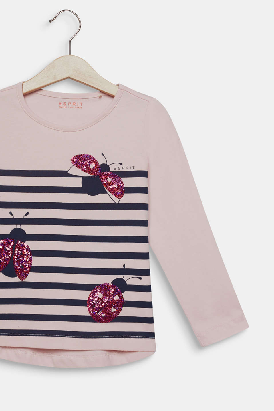 Long sleeve top with sequin ladybird, 100% cotton, LIGHT PINK, detail image number 2