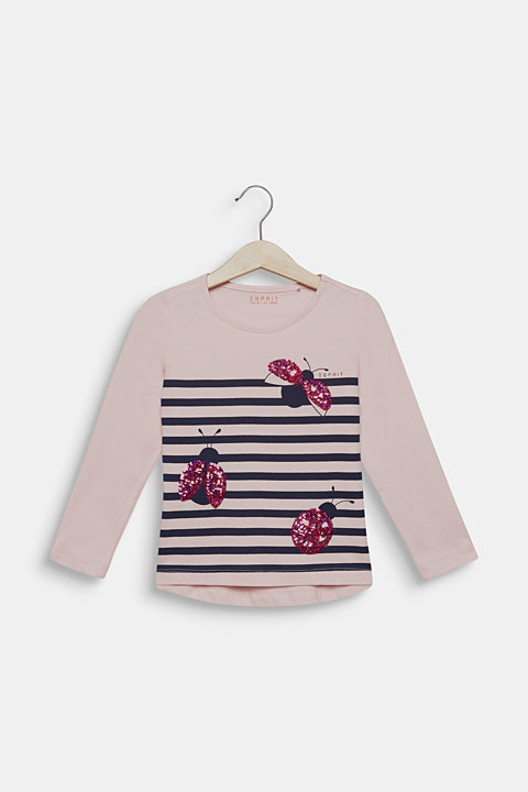 Long sleeve top with sequin ladybird, 100% cotton