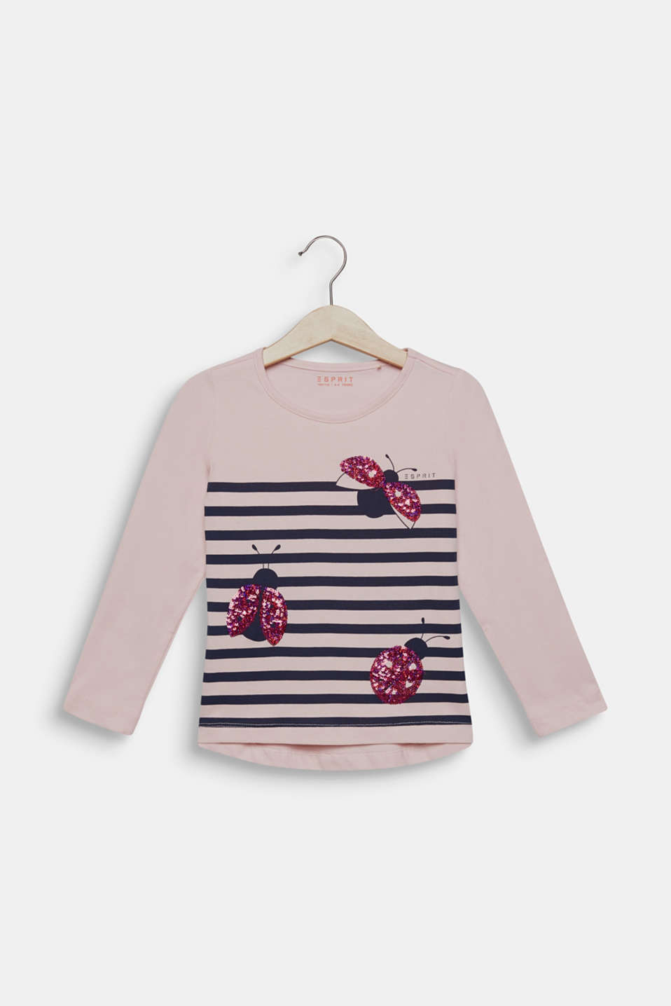 Long sleeve top with sequin ladybird, 100% cotton, LIGHT PINK, detail image number 0