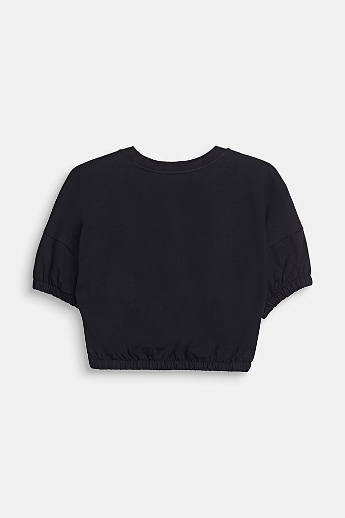 Cropped, printed T-shirt in piqué, 100% cotton, BLACK, detail image number 1