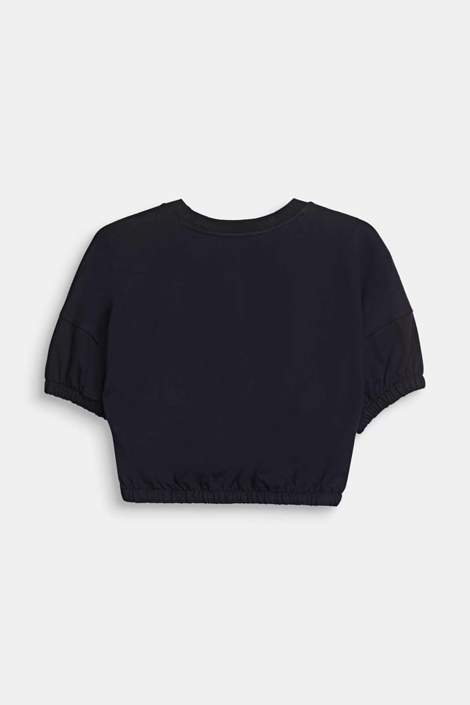 Cropped, printed T-shirt in piqué, 100% cotton, LCBLACK, detail image number 1