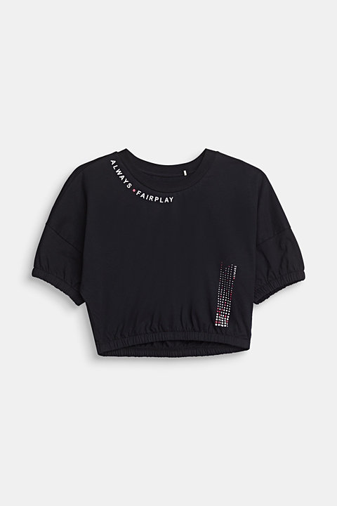 Cropped, printed T-shirt in piqué, 100% cotton