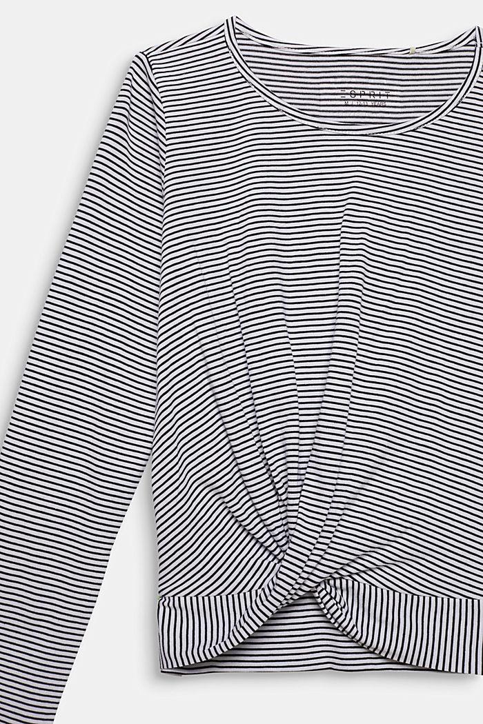 Gestreepte longsleeve met drapering, WHITE, detail image number 2