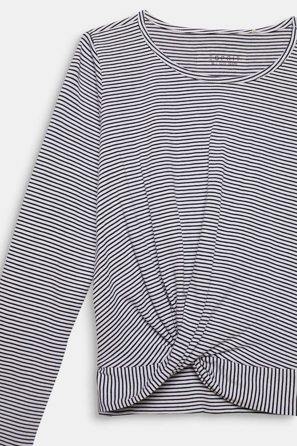 Striped long sleeve top with draping, LCWHITE, detail image number 2