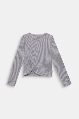 Striped long sleeve top with draping, LCWHITE, detail