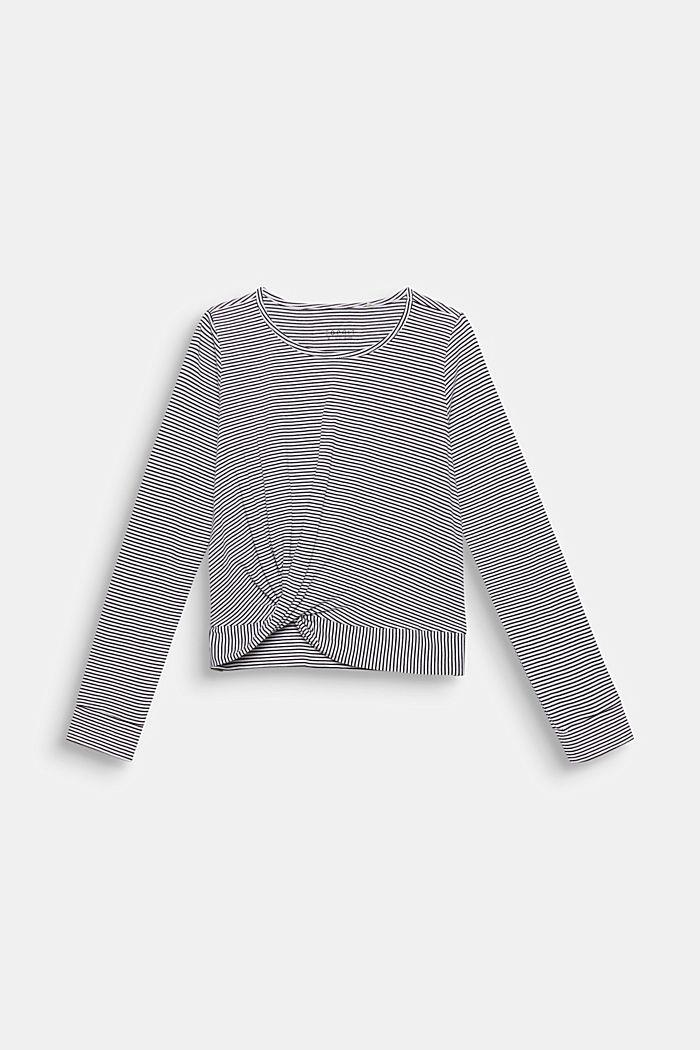 Gestreepte longsleeve met drapering, WHITE, detail image number 0