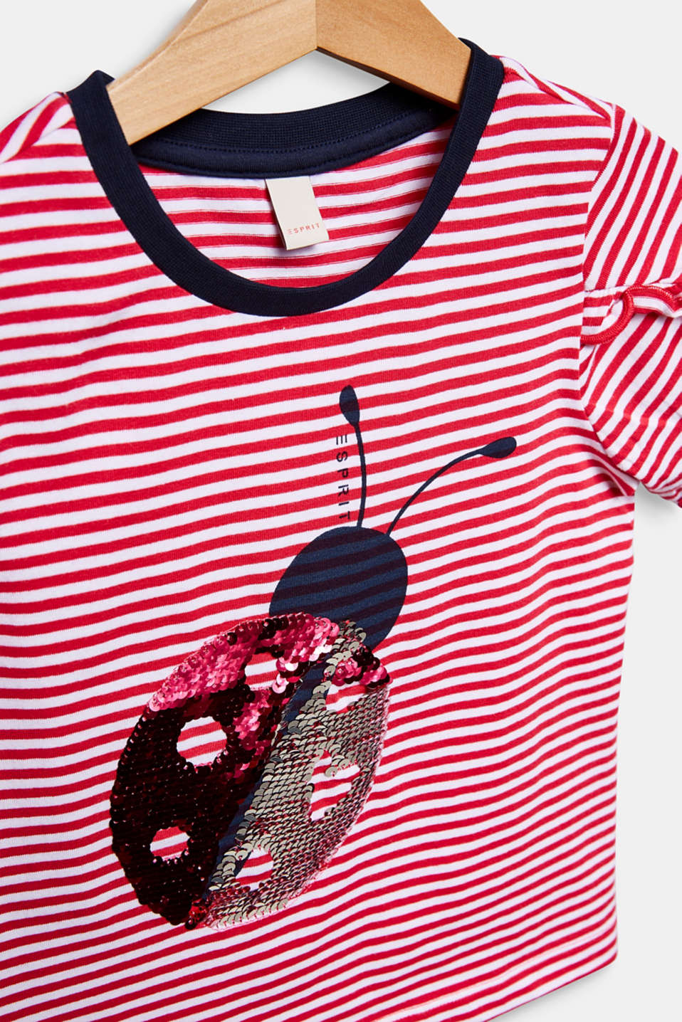 100% cotton T-shirt with reversible sequins, RASPBERRY, detail image number 2