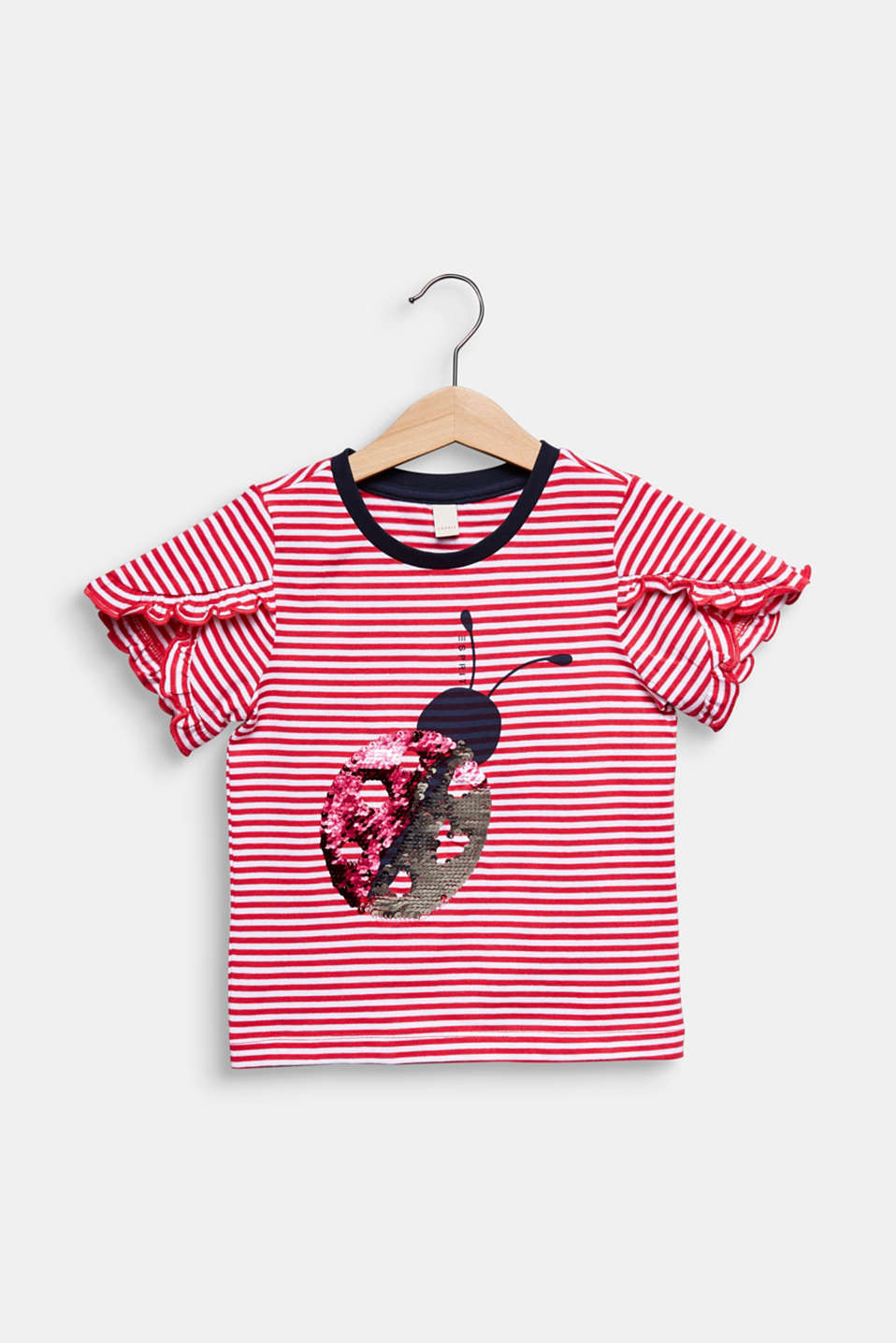 100% cotton T-shirt with reversible sequins, RASPBERRY, detail image number 0