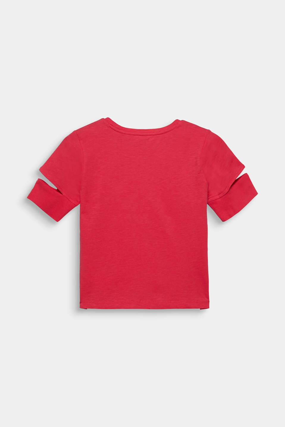 100% cotton slub T-shirt with cut-outs, LCRASPBERRY, detail image number 1