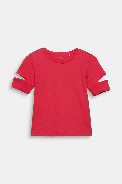 100% cotton slub T-shirt with cut-outs