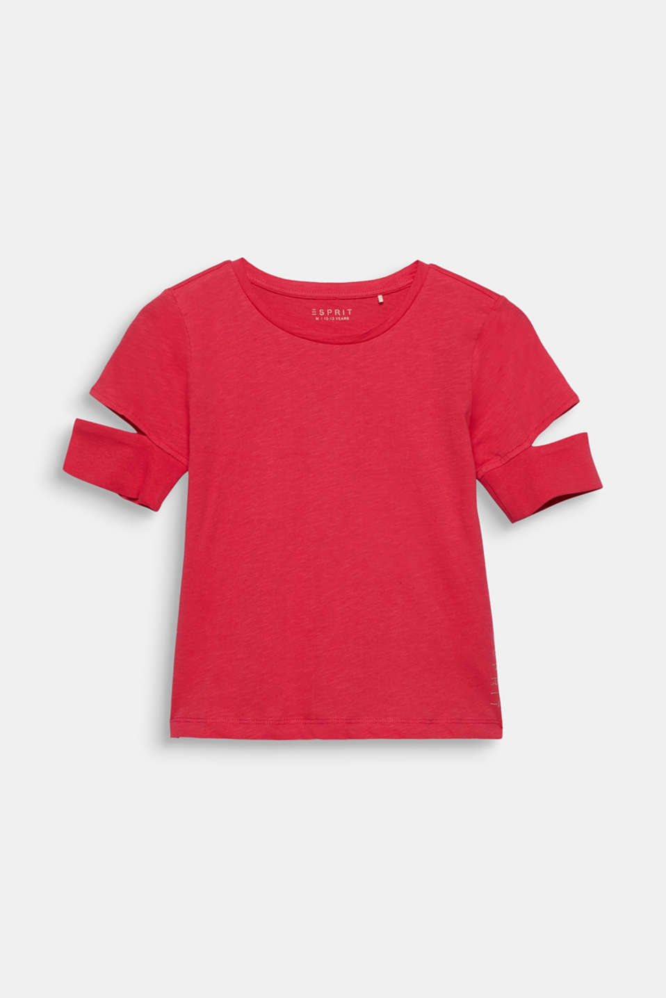 100% cotton slub T-shirt with cut-outs, LCRASPBERRY, detail image number 0