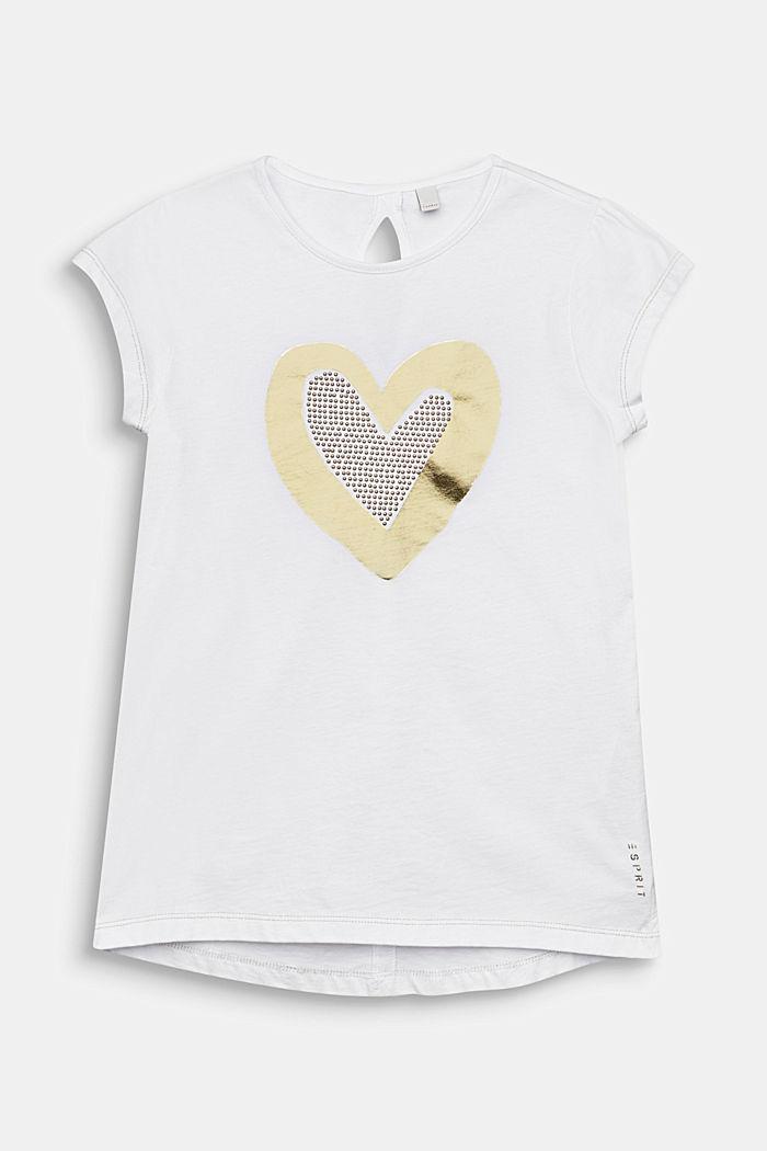 Tričko s foliovým potiskem a nýtky, 100% bavlna, WHITE, detail image number 0
