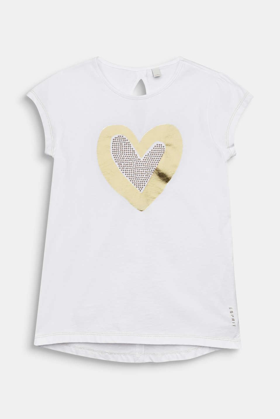 Foil print top with studs, 100% cotton, LCWHITE, detail image number 0
