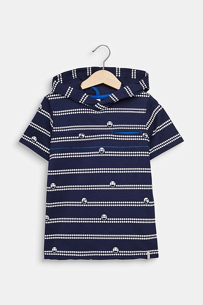 Kapuzen-T-Shirt mit Print, 100% Baumwolle, MIDNIGHT BLUE, detail image number 0