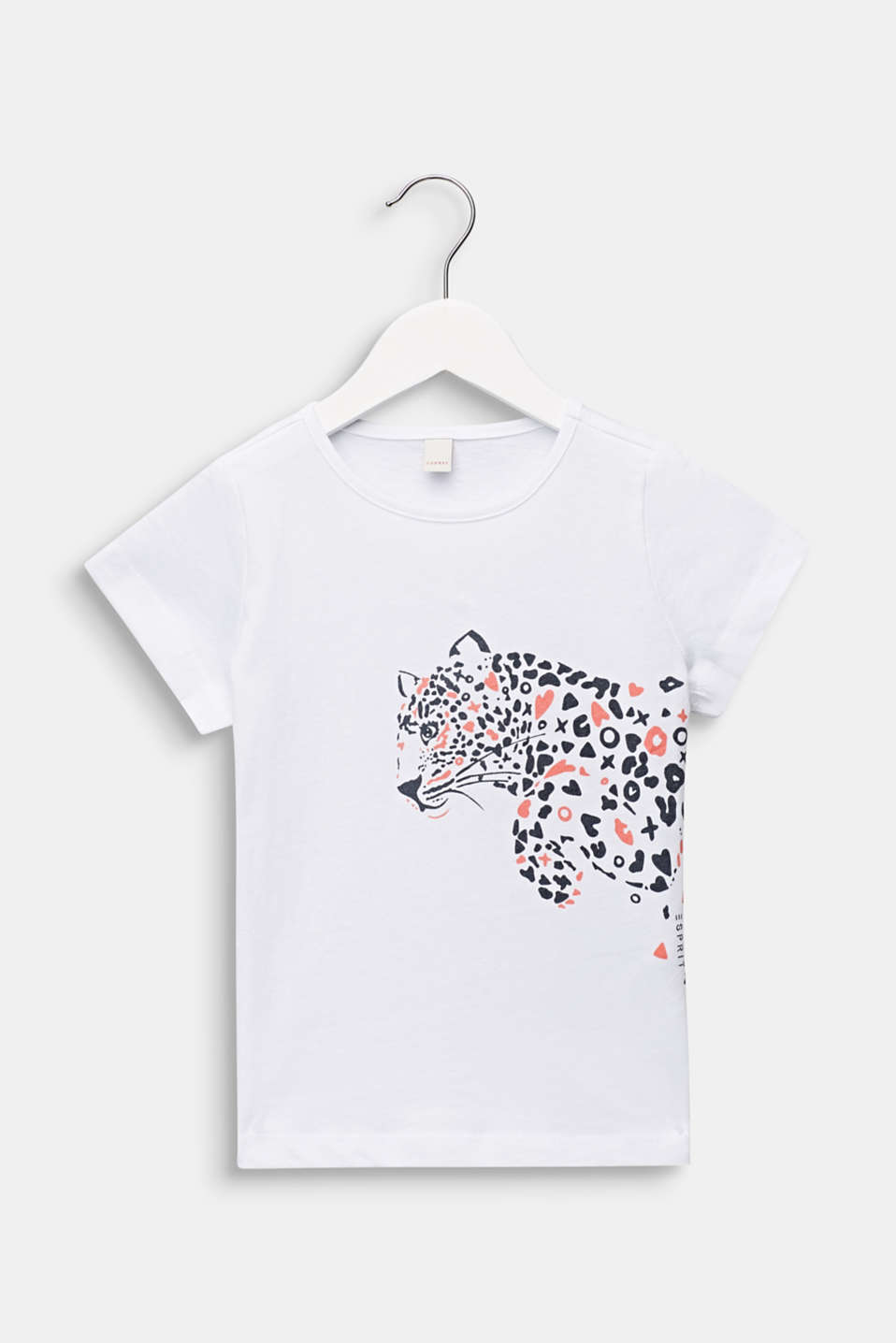 T-shirt with leopard print, 100% cotton, WHITE, detail image number 0