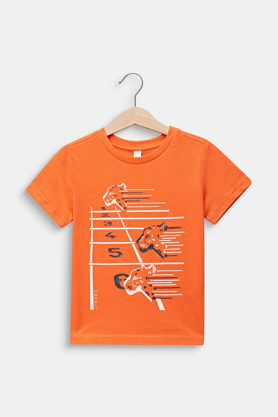 Printed T-shirt, 100% cotton, SUNNY ORANGE, detail image number 0