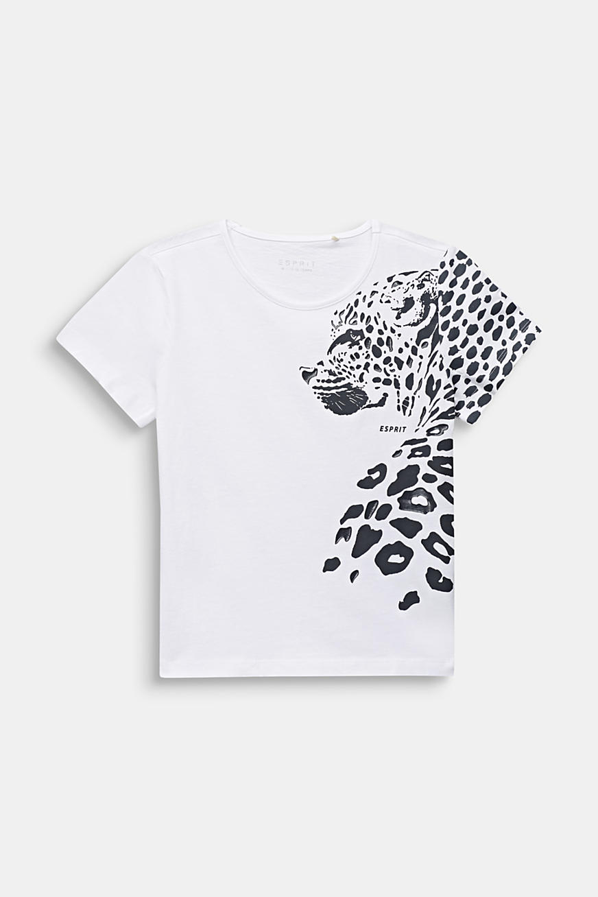 T-shirt with leopard print, 100% cotton