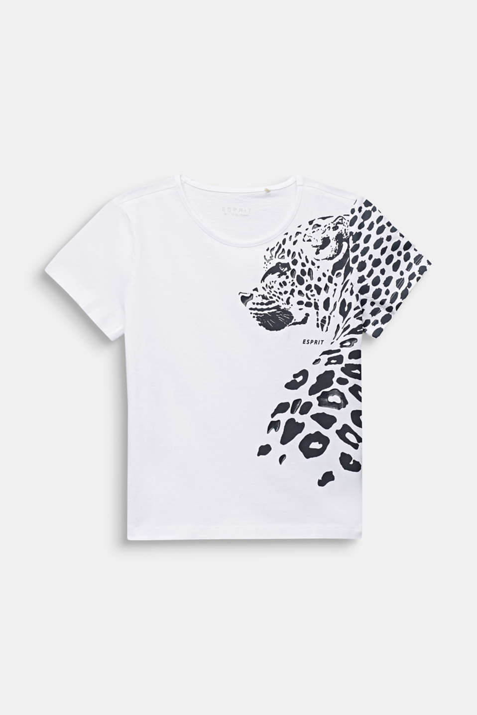 Esprit - T-shirt with leopard print, 100% cotton