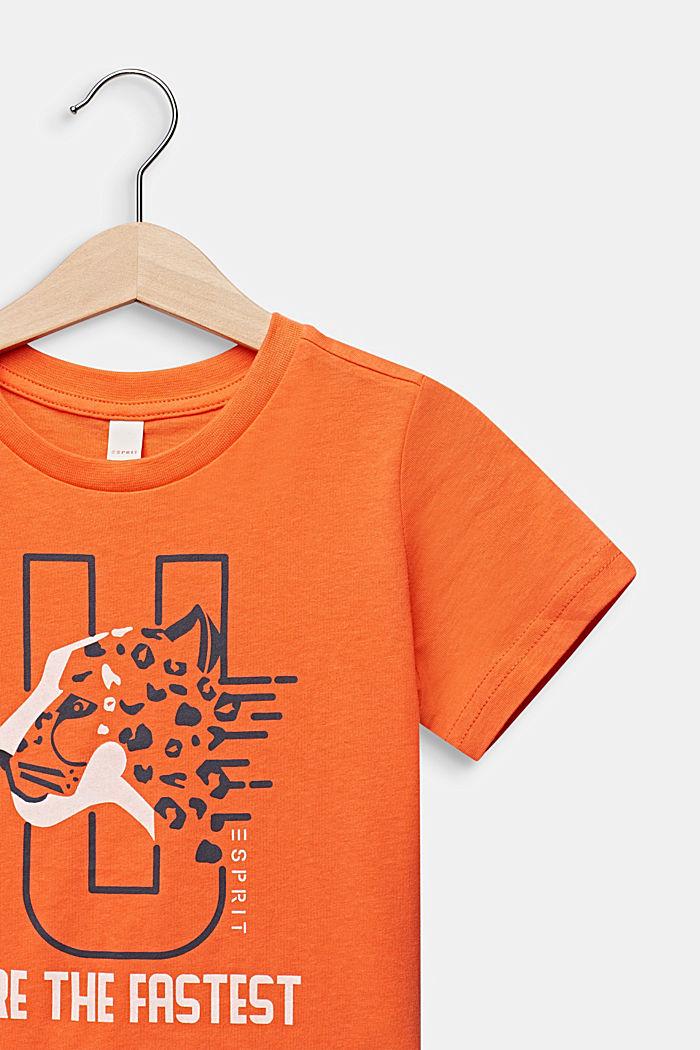 Statement-T-Shirt aus 100% Baumwolle, SUNNY ORANGE, detail image number 2