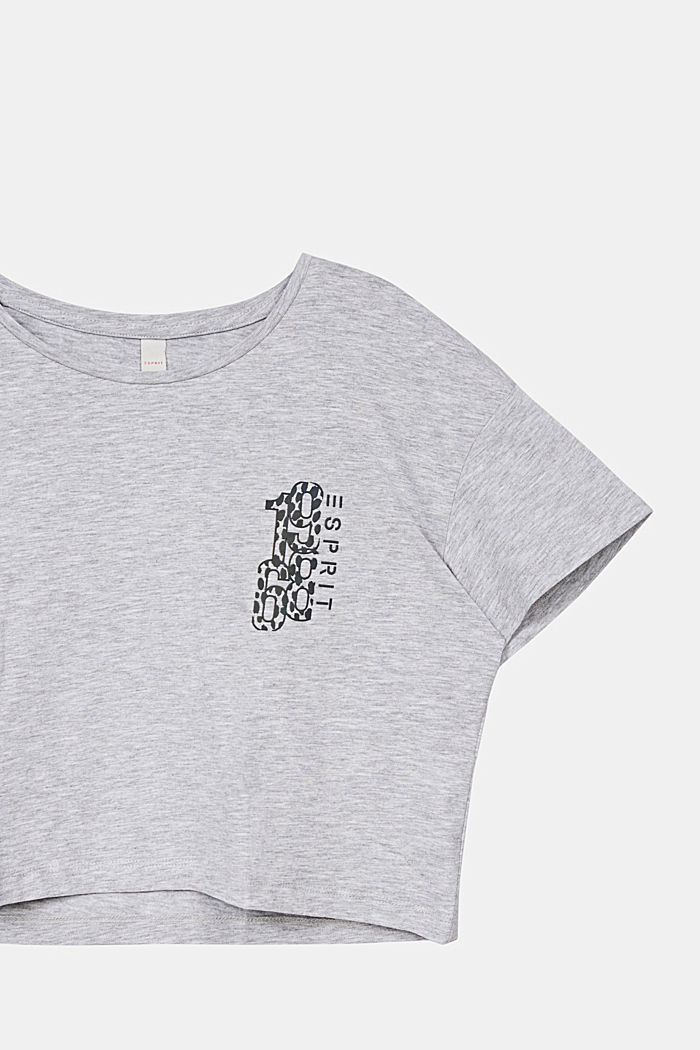 Cropped T-shirt with a print, HEATHER SILVER, detail image number 2
