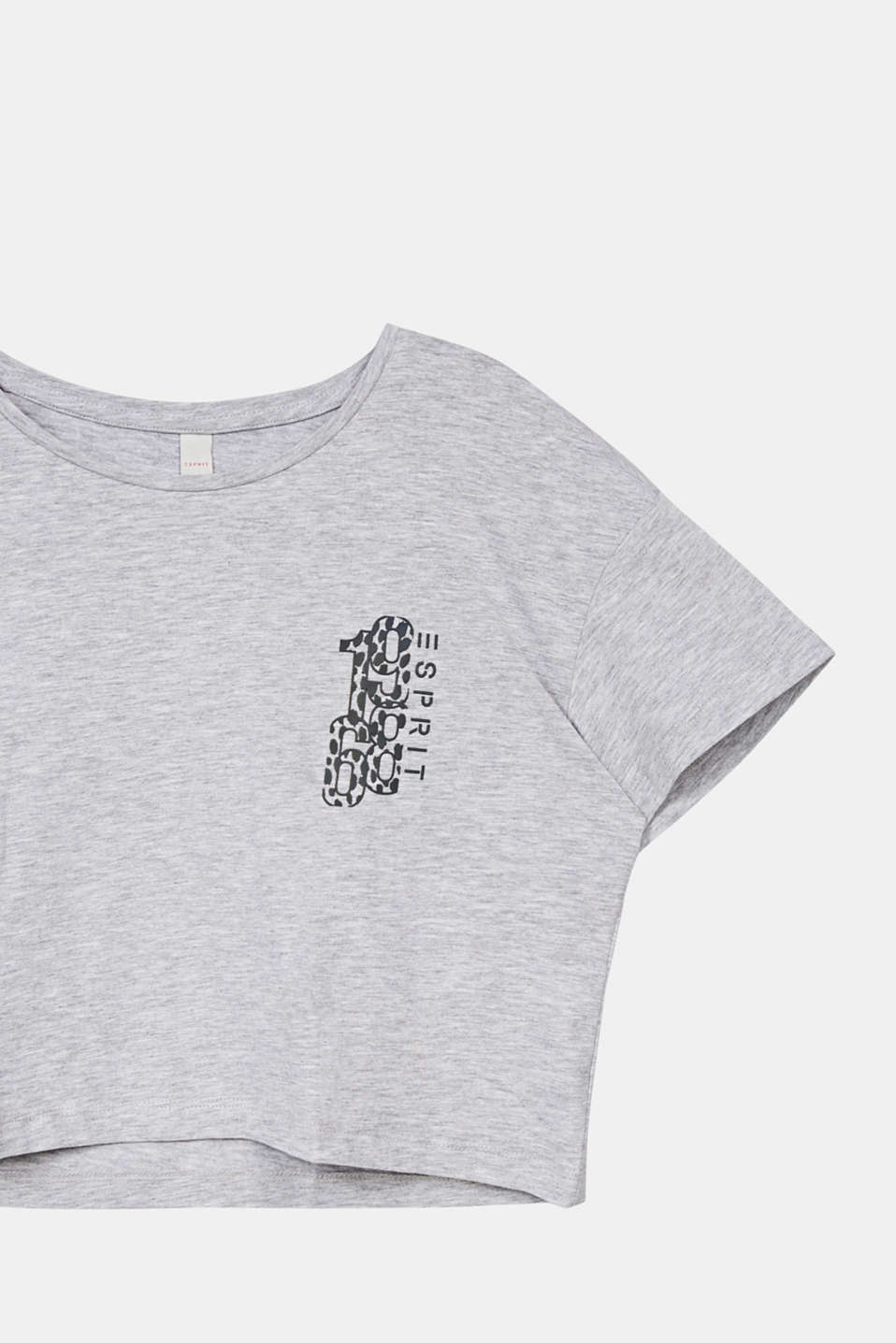 Cropped T-shirt with a print, LCHEATHER SILVER, detail image number 2