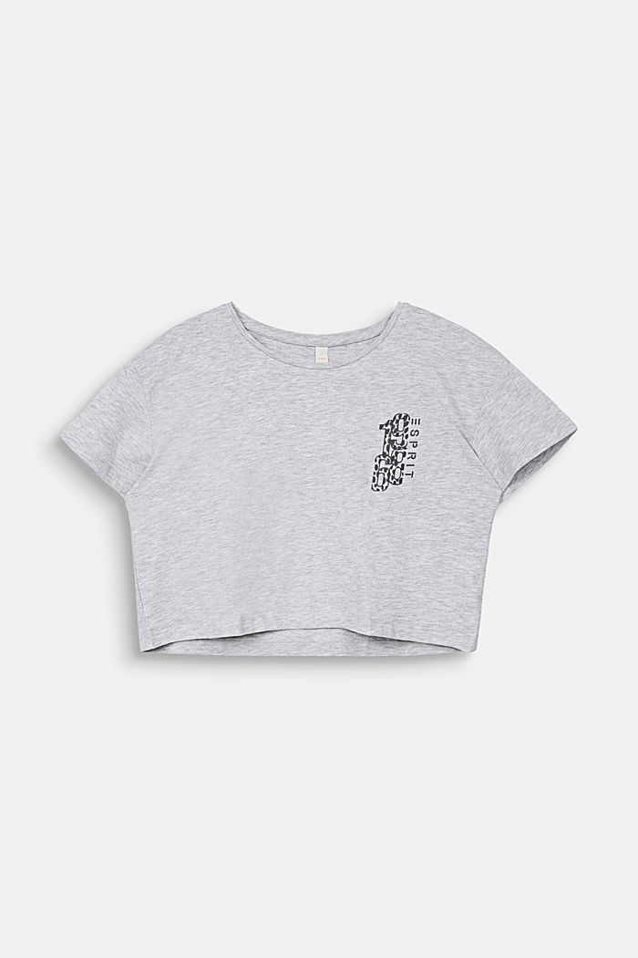 Cropped T-shirt with a print, HEATHER SILVER, detail image number 0