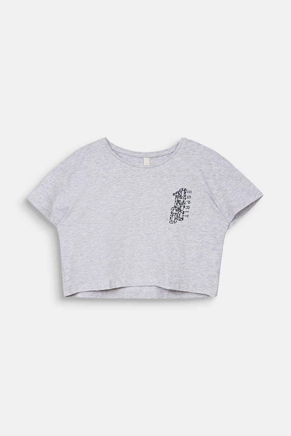 Cropped T-shirt with a print, LCHEATHER SILVER, detail image number 0