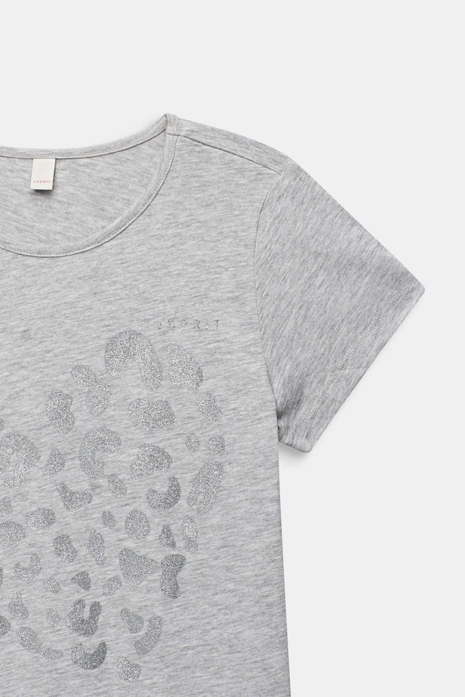 Glitter print T-shirt, 100% cotton, LCHEATHER SILVER, detail image number 2