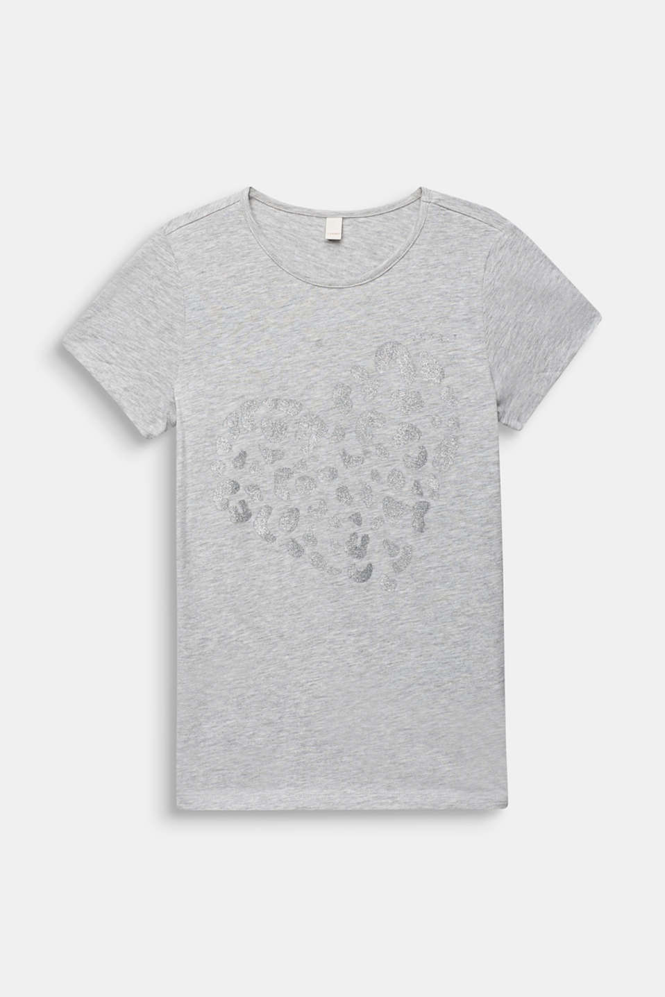 Glitter print T-shirt, 100% cotton, LCHEATHER SILVER, detail image number 0