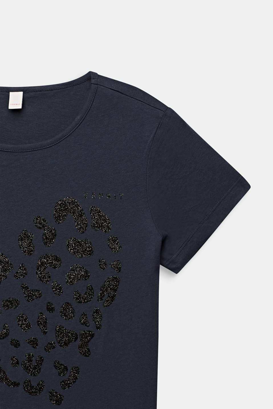 Glitter print T-shirt, 100% cotton, LCANTHRACITE, detail image number 2