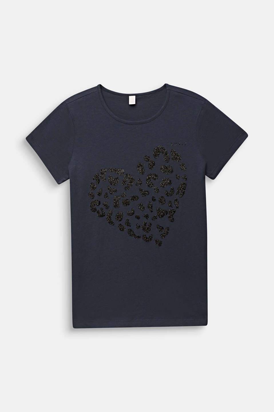 Glitter print T-shirt, 100% cotton, LCANTHRACITE, detail image number 0