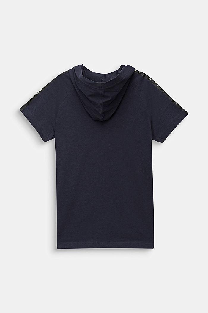 T-shirt met capuchon en logoprint, 100% katoen, ANTHRACITE, detail image number 1