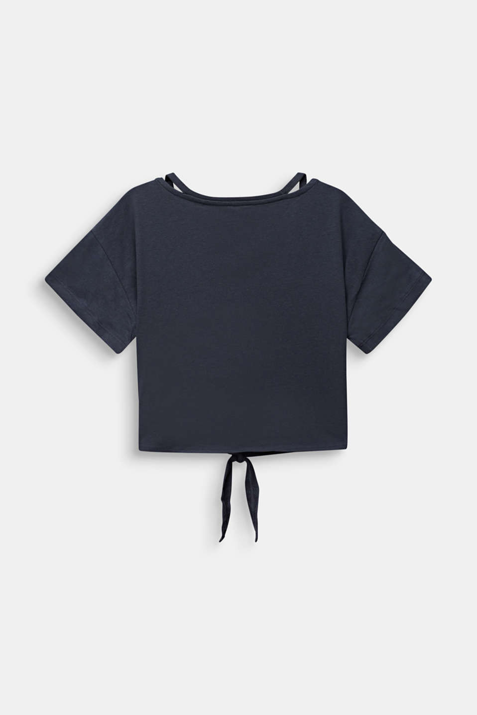 Cropped T-shirt with knot details, LCANTHRACITE, detail image number 1