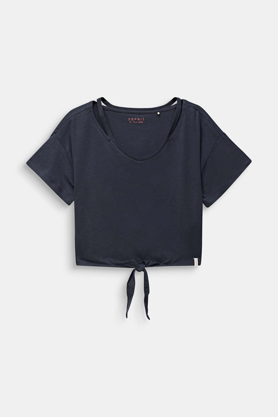 Cropped T-shirt with knot details, LCANTHRACITE, detail image number 0