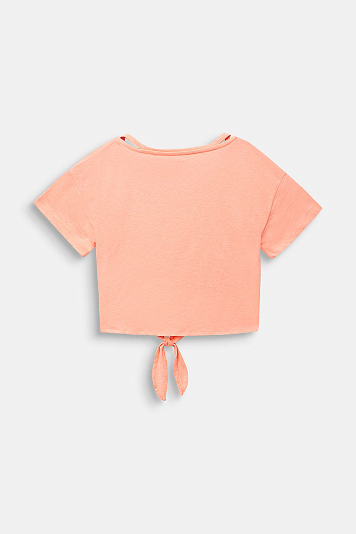 Cropped T-shirt met knoopdetail, NEON CORAL, detail image number 1
