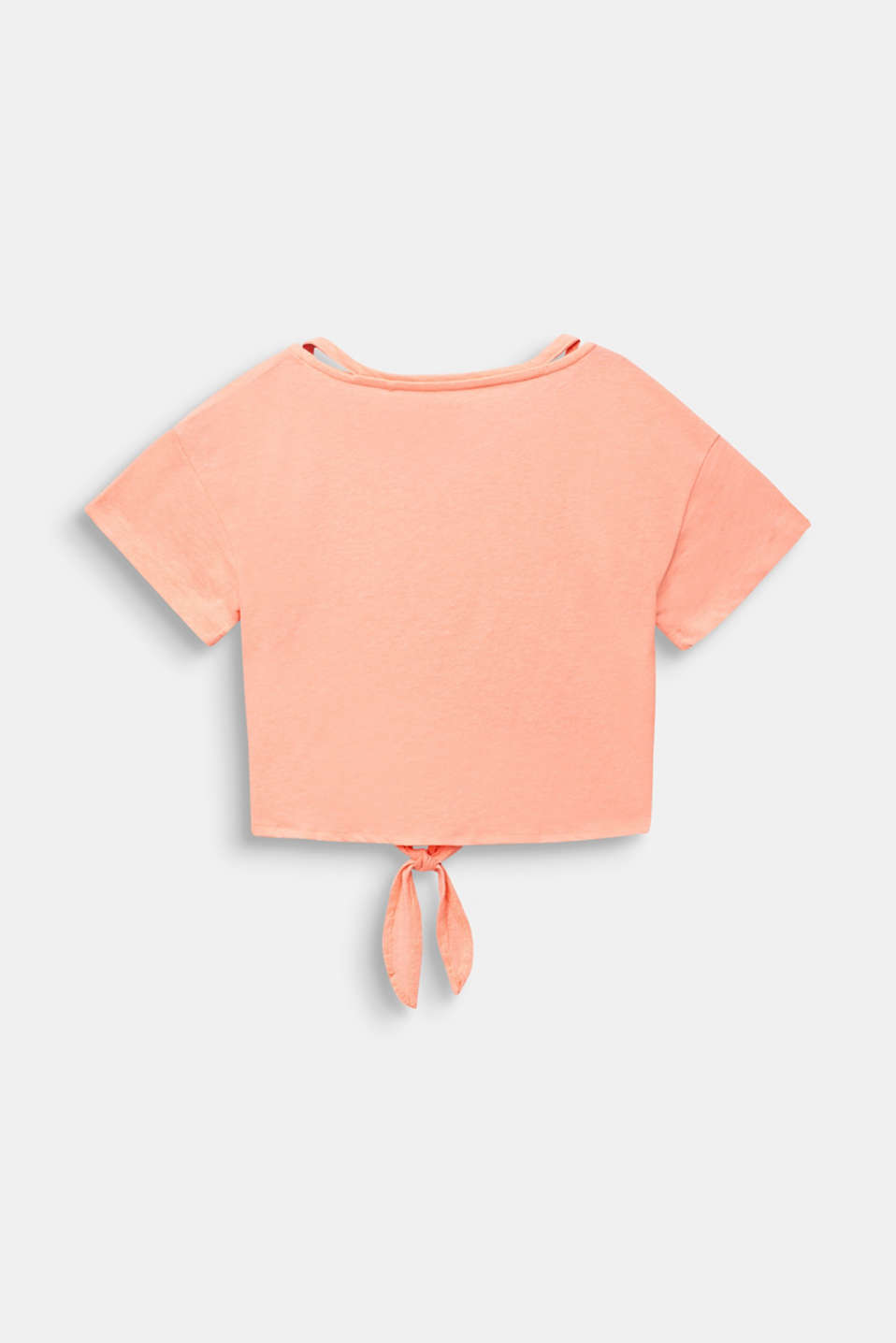 Cropped T-shirt with knot details, LCNEON CORAL, detail image number 1