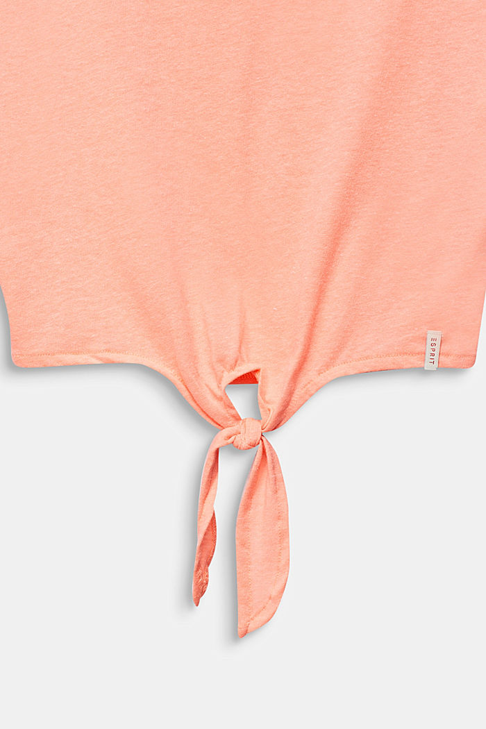 Cropped T-shirt met knoopdetail, NEON CORAL, detail image number 2