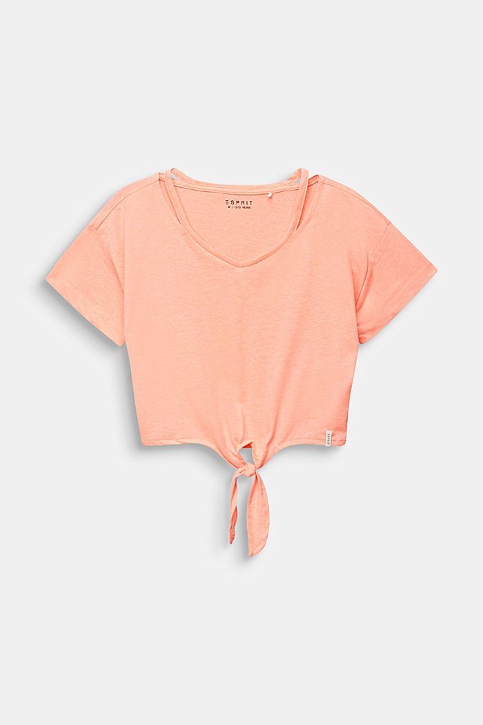 Cropped T-shirt met knoopdetail, NEON CORAL, detail image number 0