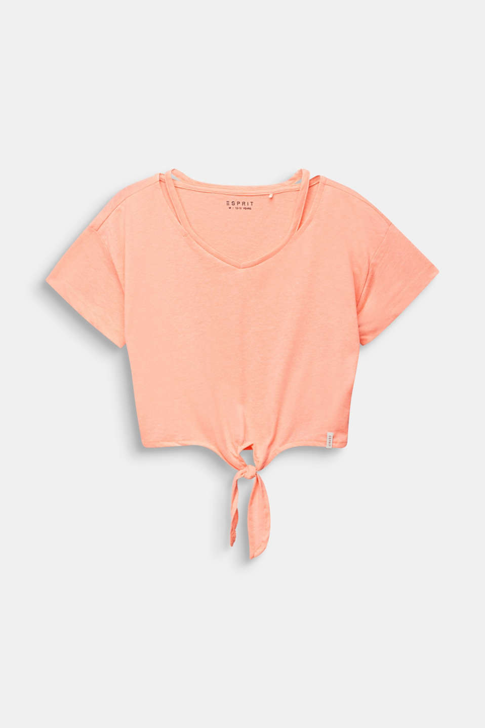 Cropped T-shirt with knot details, LCNEON CORAL, detail image number 0